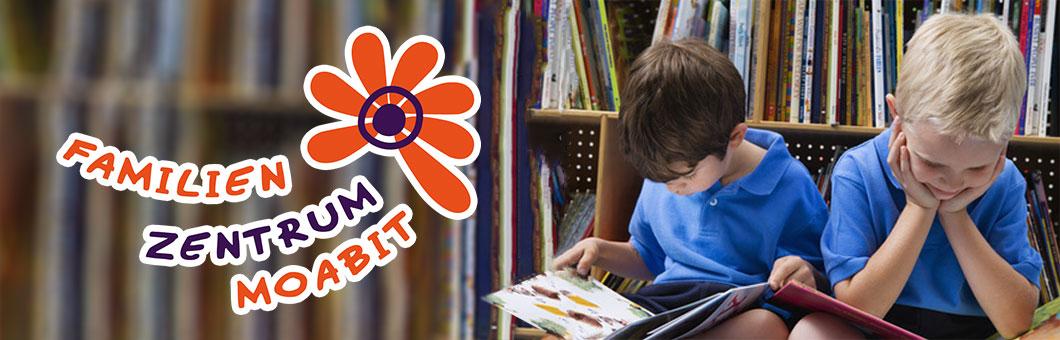Bildmontage - links: Logo Familienzentrum, rechts: Foto 2 Kinder mit blauem T-Shirt sitzen lesend auf dem Boden vor einem Bücherregal