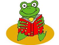 Bild Frosch sitzt mit einem Buch in den Händen auf eine gelben Scheibe