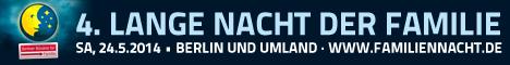 Bild: Banner zur Veranstaltung Familiennacht, am 24. Mai 2014 - Banner enhält Logo: der Mond mit einem Gesicht und Sternen