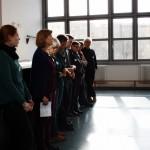 Bild: Workshopteilnehmer beim Rapport in Reih und Glied stehend