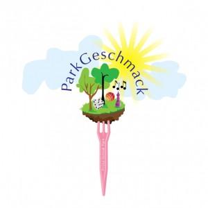 Grafik: Logo Event Parkgeschmack - Ein Stückchen Erdoberfäche mit Bäumen und Spielzeug, Sonne, Himmel und Schriftzug steckt auf einer Frittengabel
