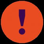 Grafik: roter Kreis mit blauem Ausrufezeichen