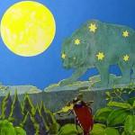 Bild: Grafik - Käfer spielt Geige im Vordergrund, Bär mit Sternen in Form des Sternzeichens Bär auf dem Fell und Mond im Hintergrund