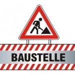 """Bild: Verkehrsschild mit Bauarbeiter darunter Schriftzug """"Baustelle"""""""