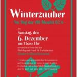 Bild: Plakat zur Veranstaltung - roter Hintergrund mit grüner und weißer Schrift und Laubblättern