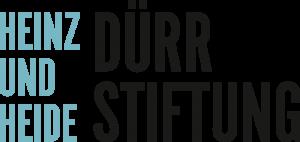 Bild: Logo Dürr Stiftung - Schriftzug Heinz und Heide in Blau, untereinander, daneben Dürr Stiftung in Schwarz, untereinander