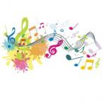 Bild: Vektorgrafik stellt bunte Noten , Notenschlüssel und Farbkleckse dar