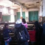 Bild: Besucher stehen am Stallzaun und schauen den Ziegen beim Fressen zu