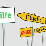 Bild: Schilder Aufschrift Hilfe, Krieg, Flucht, Vertreibung