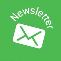 Grafik: Schriftzug Newsletter und Briefkuvert auf grünem Kreis