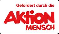 """Grafik: roter Schriftzug """"Gefördert durch die AKTION MENSCH"""" auf weißem Hintergrund"""