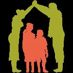 Grafik: Silouetten - Mutter und Vater (hellerbsengrün) händehaltend mit nach oben ausgesteckten Armen über ihren 2 Kinden (hellrotorange)