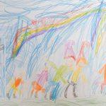 Foto: bunte Kinderzeichnung - Schneewittchen und die 7 Zwerge im blauen Wald