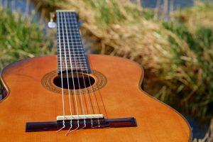 Foto: Gitarrenkorpus auf Gras leigende. Korpus vorne, Gitarrenhals nach hinten ins Bild geneigt.