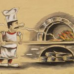 Illustration: Pizzabäcker schiebt eine Pizza in den Backofen