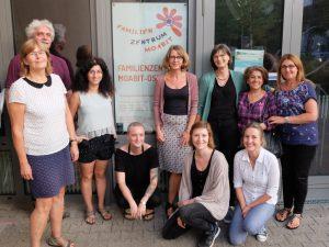 Foto: 9 Frauen und ein Mann stehen oder knien lose im Halbkreis vor der Eingangstür mit Logo des FZM.