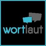"""Grafik: Schriftzug """"wortlaut"""" zweifarbig (blau/dunkelgrau), darüber zwei eckige Sprechblasen ( je eins blau und dunkelgrau)"""