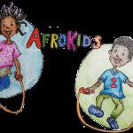 """Grafik: junge und Mädchen im Sprung mit Springseil, dazwischen der bunte Schriftzug """"AFROKIDS"""""""