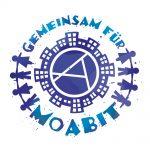 Grafik: Gemeinsam für Moabit im Kreis geschrieben, in der Mitte ein Häuser-Rondell