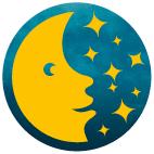 Grafik: Ein blauer Kreis mit einem Mond und Sternen