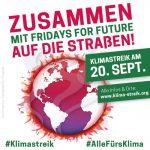 """Grafik: Brennender Globus in Rottönen zusammen mit Überschrift """"Zusammen mit Fridays for Future auf die Straßen"""""""