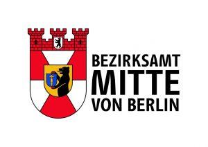 Grafik: Stadtwappen von Berlin links, rechts in schwarzer Schrift Bezirksamt Mitte von Berlin