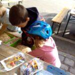 Foto: zwei Kinder nebeneinander tauchen ihre Hände in einene grüne Box mit Samenkernen